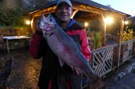 Ian Dixon from Bristol with a 12lb rainbow