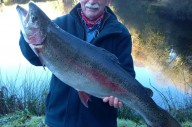 Russ Symons from Plymouth with his 15lb-9oz Rainbow.